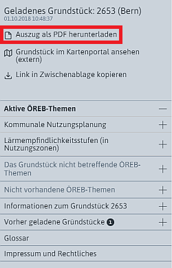 Menu PDF-Auszug